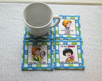 sassy woman hand quilted set of mug rugs coasters