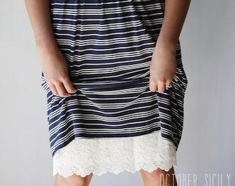 H1L- Modest Opaque Lace Dress Extender HALF SLIP  *Style 1L * size S-4XL Plus size