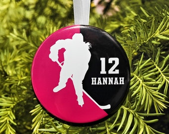 Girls Women Ice Hockey Player Silhouette Christmas Ornament - team colors - customized - C091