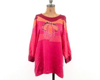 vintage SILK asian print MAGENTA hue TUNIC blouse S-M