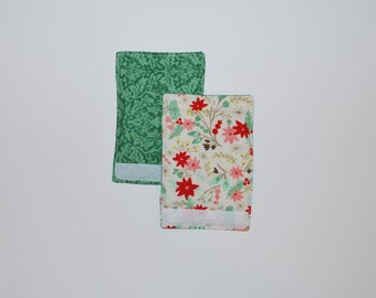 Luggage Handle Wraps set of two reversible Holiday Flower Garden travel gift teacher gift Quiltsy Handmade