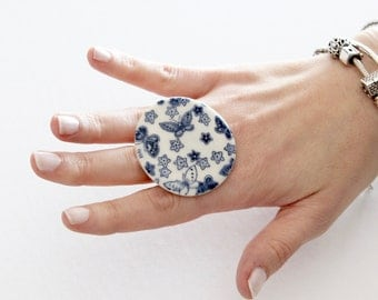 Ceramic Butterfly Ring - big ring, woodland ring, handmade ring by StudioLeanne, adjustable ring, ceramic ring, cocktail ring,