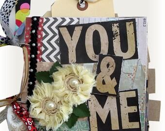Wedding Album, Romantic Scrapbook, Wedding Gift, Love and Romance, Wedding gift, Mini Scrapbook, Black and Ivory, Friendship, Anniversary