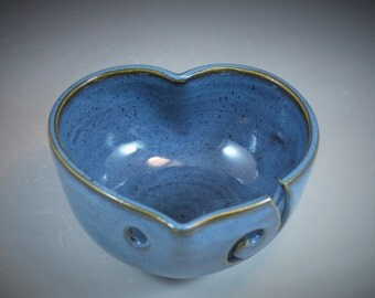 Yarn Bowl Heart Shaped Wheel Thrown Bowl in Croc Blue Glaze- ready to ship in time for Valentines Day!