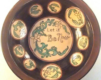 bowls set of two - Let it be now - earthenware - circles - green - black - red earthenware - soup bowl - salad bowl - kitchen bowl