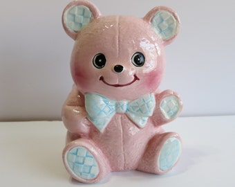Vintage Pink Ceramic Bear Planter made by Relpo