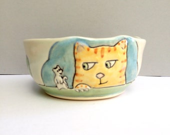 Small Ceramic Bowl with Cats and Rats, Blue Cereal Bowl, Soup Bowl, or Salad Bowl with Kitties, Animal Pottery, Cat Pottery