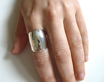 Huge Hammered Silver Cigar Band- Statement Ring