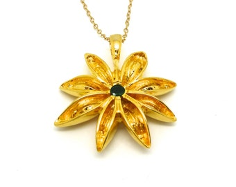 Gold Star Anise Pendant with Emerald // Amethyst // Garnet