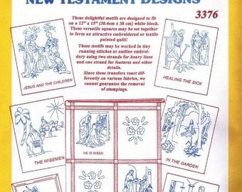 """Aunt Martha's 12"""" x 15"""" Collection of Hot Iron Transfers New Testament Designs # 3376"""