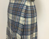 1970s Vintage Plaid Kilt Skirt - Short Length - Steel Blue Khaki and Copper Tartan Plaid - Scotland - Pitlochry - Buckle Waist from 24 to 26