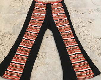 1970s High Waist Pants - Color Block Stripe and Black - High Waist - Uber Groovy Mod - Hippie Style Pants - 70s Stripe Mod Pants - 29 Waist