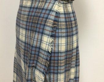 1970s Vintage Plaid Kilt Skirt - Short Length - Steel Blue Khaki and Copper Tartan Plaid - Scotland - Pitlochry - Buckle Waist from 24 to 26