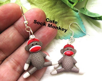 SOCK Monkey dangle earrings mono miniature cute animal collectible MINI Kawaii collector CHRISTMAS Gift