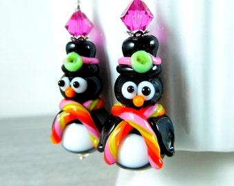 Penguin Earrings, Christmas Earrings, Top Hat Whimsical Bird Earrings, Holiday Jewelry, Animal Earrings, Colorful Lampwork Glass Earrings
