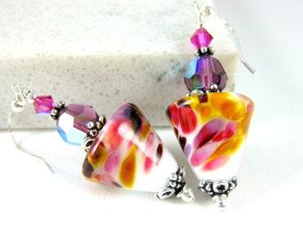 Pink Purple Amber White Glass Dangle Earrings, Rustic Earrings, Boho Earrings, Cone Earrings, Unique Earrings, Colorful Lampwork Earrings