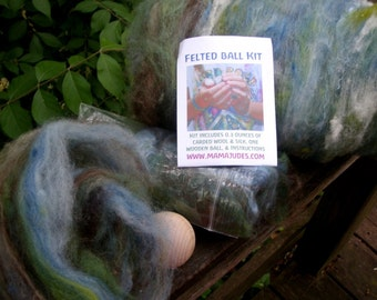 Earth Ball Kit with Silk--Large Felted Ball Kit--Plant Dyed Wool, 2 Wooden Balls, and Instructions