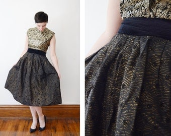 1950s Black and Gold Taffeta Skirt - S
