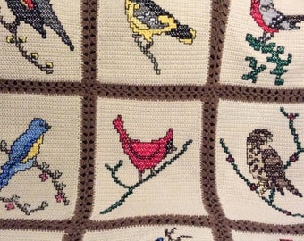 Birds Birds Birds - Crochet Afghan Blanket Throw - Beautiful afghan -