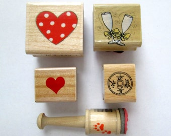 Mounted Rubber Stamp Set, Hearts Stamp, Rubber Stamp, Wedding Glasses
