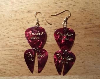 Fender Guitar Pick Earrings in Red