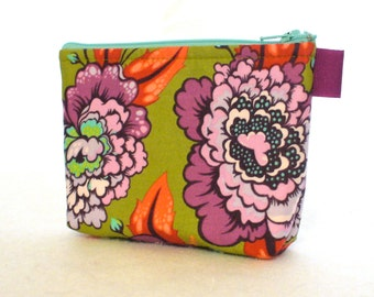 Tula Pink Fabric Gadget Pouch Small Cosmetic Bag Fabric Zipper Pouch Makeup Bag Elizabeth Astraea Floral Plum Purple Olive Salmon Orange MTO