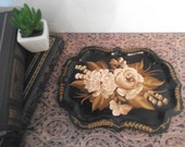 Vintage handpainted tole Tray ~ Small vanity tray ~ Black with gold cream rose and florals