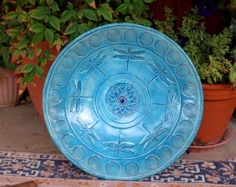 Raku DRAGONFLY SPIRAL  Handmade Ceramic Pottery