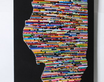 LARGE Recycled Magazine State wall art- you choose your own state, magazine colors, blue, green, red, purple, pink, yellow, orange