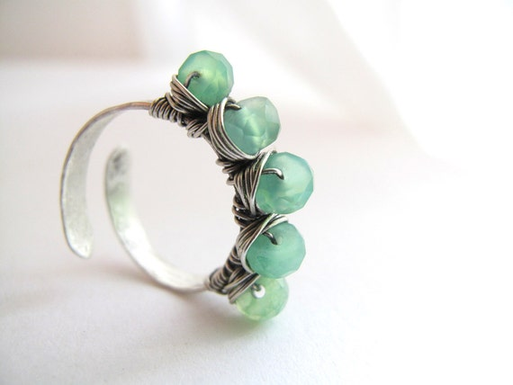 Gemstone Stacking Ring Mint Green Chrysophase  - Adjustable Size Sterling Silver Ring