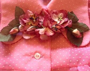 Vintage flower brooch with crystal bees