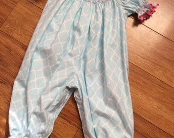 Girl's, Toddlers Hand Smocked Snowman Bishop Romper - Size 18m