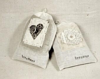 Set of Two Handmade Lavender Sachets * scented sachets * lavender * herbal