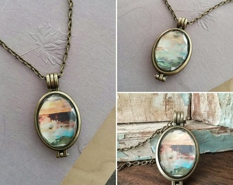 "Yellowstone Pendant Necklace Double Sided Reversible Printed Original Artwork - ""Yellowstone at Dawn"""