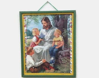 Vintage Picture of Jesus with Children - Framed Under Glass - Illustration from a Book