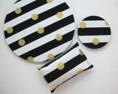 metallic gold Mouse Pad, WRIST REST, coaster Set --  black and white stripes gold dots