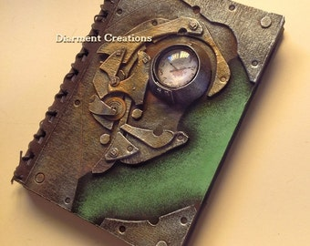 Steampunk Notebook Clock and Green