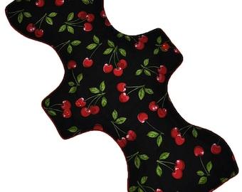 Moderate Hemp Core- Cherries on Black Reusable Cloth Goddess XL/Postpartum Pad- WindPro Fleece- 16.5 Inches