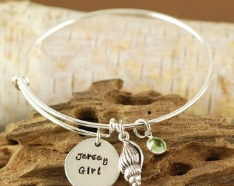 ON SALE Jersey Girl Bangle Bracelet - Shell Jewelry - Hand Stamped Bracelet - Beach Jewelry