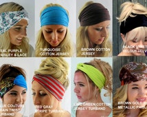 Wide Yoga Headband Choose ANY TWO Workout HeadBand School Band Head Wrap Running Headband Womens Hair Wrap Turban Head Wrap 40 Color Options