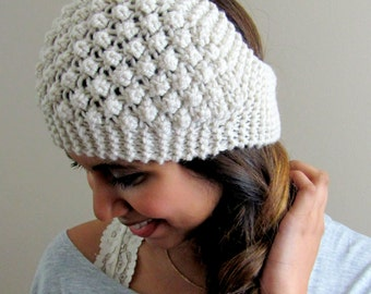 Winter White Headband Textured Head wrap Knit Handmade Bobble Headband Ear Warmer Winter HeadBand
