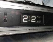 Mid Century Black General Electric GE Digital Flip Alarm Clock Vintage Atomic Bedside Decor