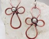 Cross earrings, pearl earrings, copper earrings, gift, handcrafted dangle earrings, drop earrings