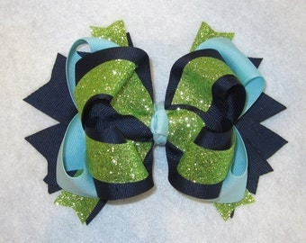 Large 6 Inch Boutique Hairbow, Triple Layered Bows, Girls Boutique Bow, Blue Glitter Hairbow, Green, Pageant Bow, Large Bow, Glitzy Glow gl