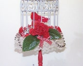 Decorated Birdcage, Birdcage, Cardinals, Red, Pinecones, Gift for Her, Gift for Him, Silver, Christmas Decor, Holiday Decor, Home Decor,