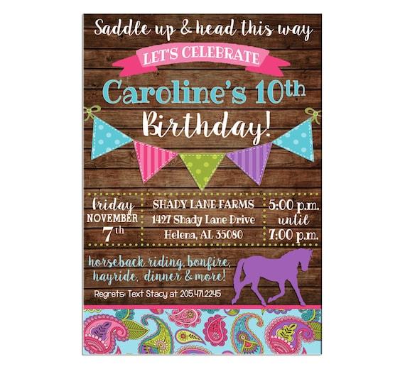 Girl Pony Horse Horseback Riding Farm Barn Cowgirl Paisley Tween Bunting Banner Rustic Birthday Invitation - DIGITAL FILE