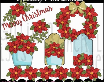 Pretty Poinsettia Clipart Collection - Immediate Download