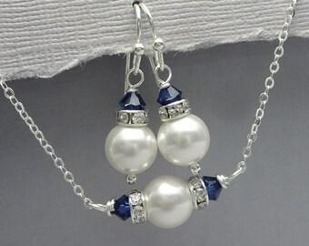 Navy Jewelry Set, Swarovski White and Navy Bridesmaid Jewelry Set, Personalized Bridesmaid Gift, Navy Jewelry Set, Maid of Honor Gift