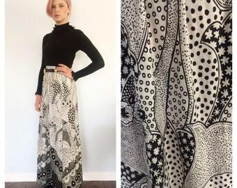 Vintage 70s Op Art Maxi Skirt