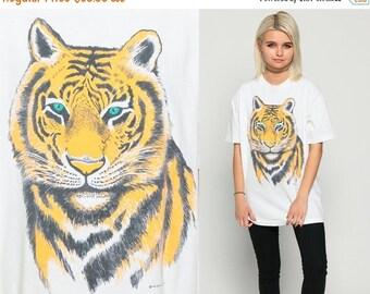 ON SALE TIGER Shirt 90s Animal Tshirt Graphic Big Cat Tiger Face Retro T Shirt Cotton Screen Print Tee Vintage White 1990s Large